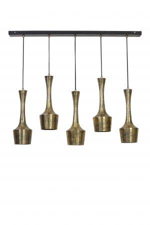 Hanglamp 5L 100x14x130cm KIRSTY antiek-goud-mat-zwart 3094885 Quality2life.nl
