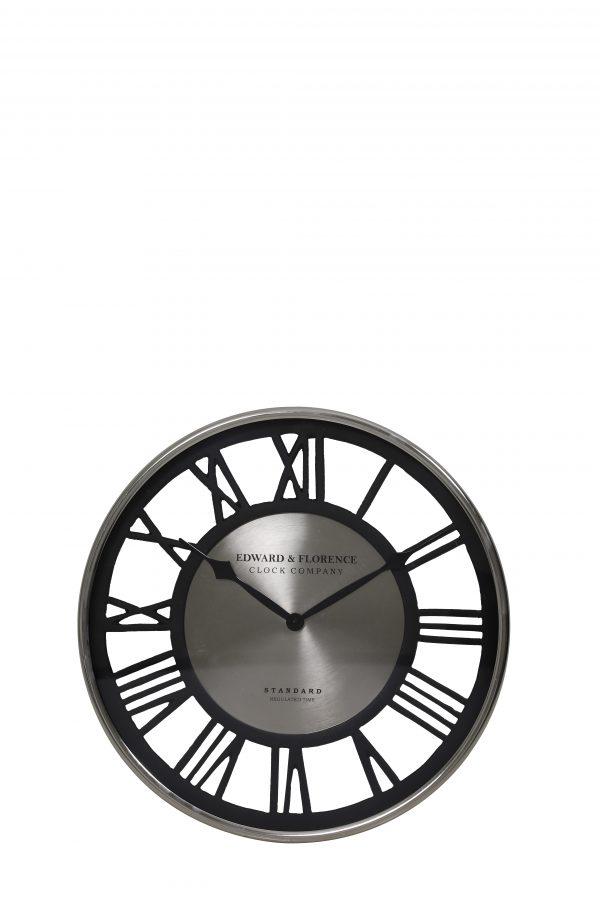 Wandklok MANAKU nikkel-zwart 40cm 7106219 Quality2life.nl