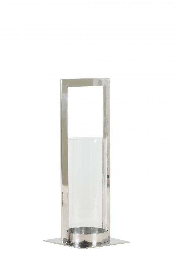 7710619 Windlicht 15x15x40 cm JELCO nikkel-helder glas Quality2life.nl