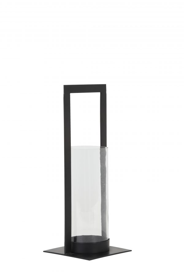 7710658 Windlicht 15x15x40 cm JELCO mat zwart+glas Quality2life.nl
