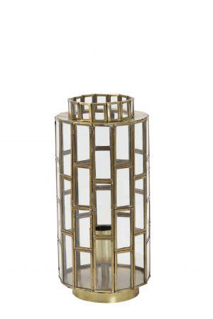 Tafellamp antiek-brons+Glas SØSTRENE Ø15x31cm 1843718 Quality2life.nl