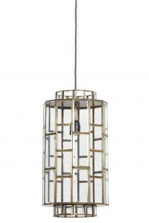 Hanglamp antiek-brons+Glas SØSTRENE Ø24x45cm 3004318 Quality2life.nl