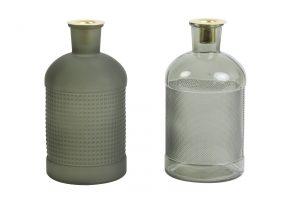 Fles/kandelaar deco S/2 ELISA glas olijf-groen Ø10x20cm 5982169 Quality2life.nl