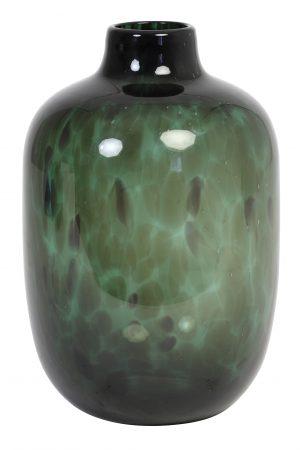 Vaas Glas-donkergroen-zwart DAKAR Ø16x25cm 5983581 Quality2life.nl