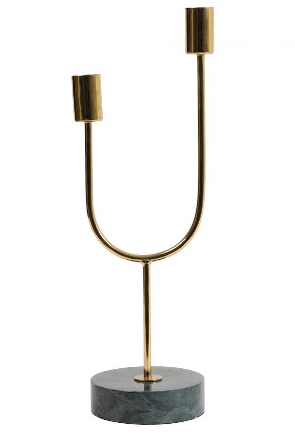 Kandelaar marmer groen-goud FLORIKE Ø10x35cm 6037048 Quality2life.nl