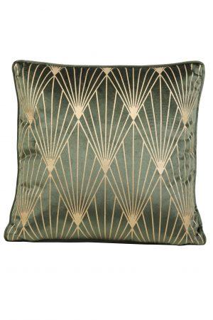 Kussen velvet groen-goud JANISE 45x45cm 6835681 Quality2life.nl
