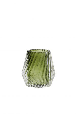 Theelicht Glas olijf-groen KEANU Ø8,5x8,5cm 7717769 Quality2life.nl