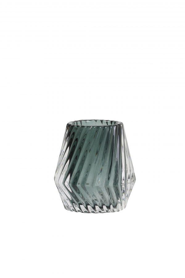 Theelicht Glas donker-groen KEANU Ø8,5x8,5cm 7717778 Quality2life.nl
