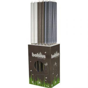 Rustiek Fakkel Bolsius Wit/Taupe/Grijs 113×3,5cm Quality2life.nl