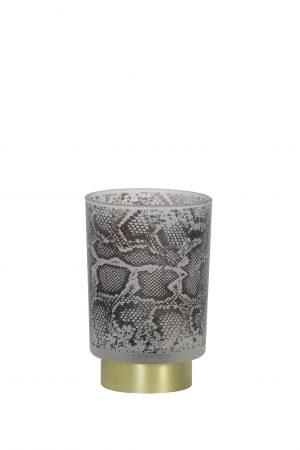 Tafellamp LED Ø10x12,5cm SNAKE glas wit-zwart 1856226 Quality2life.nl