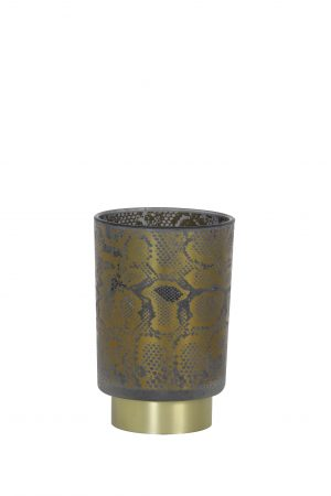 Tafellamp LED Ø10x12,5cm SNAKE glas grijs-zwart 1856227 Quality2life.nl