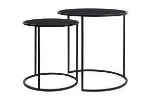 Bijzettafel S/2 Ø40+Ø50cm DUARTE glas zwart-mat zwart 6724912 Quality2life.nl