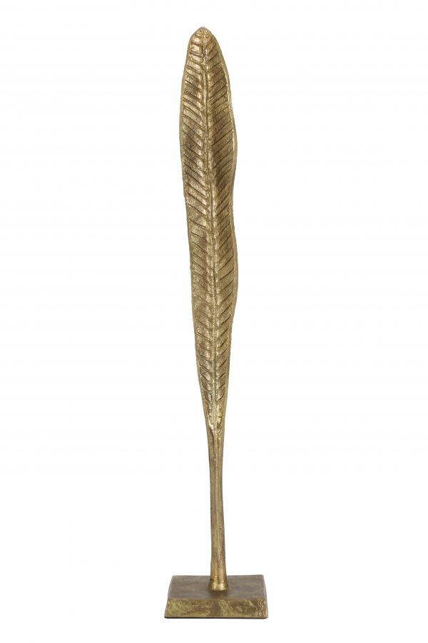Ornament 10x10x58,5cm LEAF blad brons 6922018 Quality2life.nl