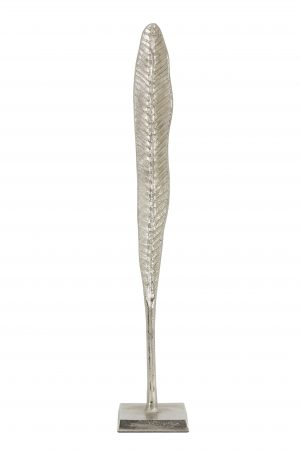 Ornament 10x10x58,5cm LEAF blad nikkel 6922019 Quality2life.nl