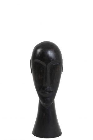 Ornament 12x11x38cm HEAD hout zwart 6982912 Quality2life.nl
