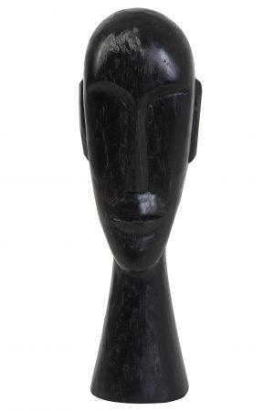 Ornament 16,5x13x52cm HEAD hout zwart 6983012 Quality2life.nl