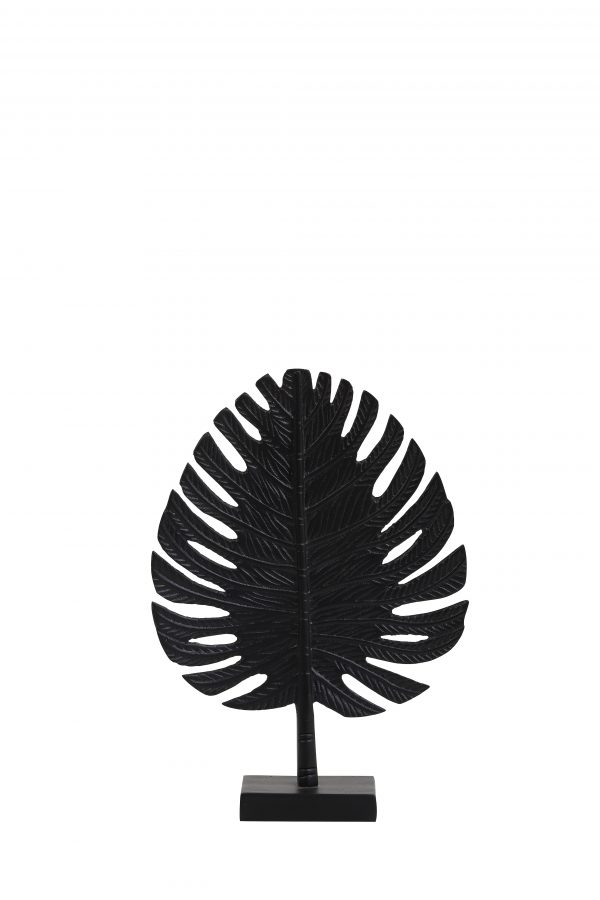 Ornament 23,5x8x33cm LEAF zwart 6991412 Quality2life.nl