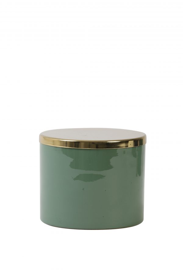 Deco box Ø13,5x11cm ALEGRANZA groen-blauw 7411281 Quality2life.nl