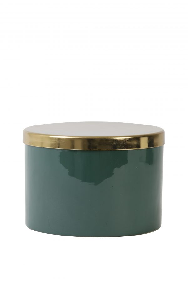 Deco box Ø17x12cm ALEGRANZA groen 7411378 Quality2life.nl