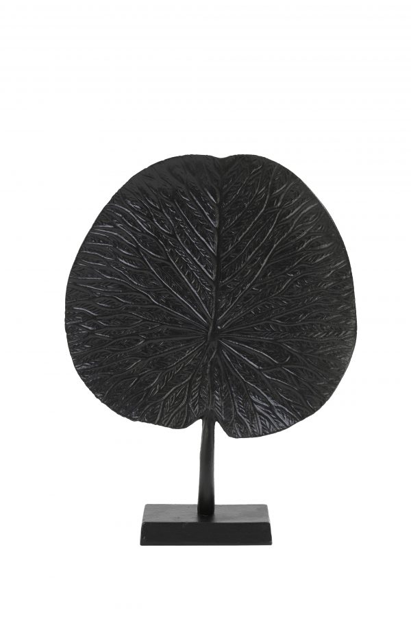 Ornament op voet 25x6,5x34cm LEAF zwart 7418612 Quality2life.nl