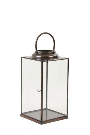 Lantaarn 21x21x41,5cm ARVO glas brons 7712385 Quality2life.nl