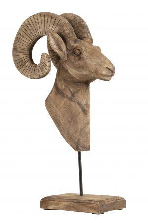 Ornament 29x23x55 cm RAM kop hout weather barn 6275383 Quality2life.nl