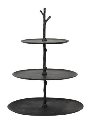 Etagere 3 laags 35x31x45 cm TRESA mat zwart 6608112 Quality2life.nl