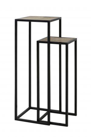 Zuil S/2 30x30x80+35x35x100 cm PUYO hout naturel+zwart 6705912 Quality2life.nl