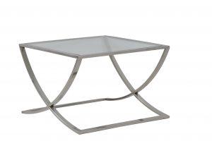 Salontafel 60x60x40 cm MOLINA glas+nikkel