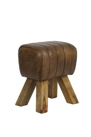 Kruk 38x30x46 cm RAMY leer donker bruin 6738369 Quality2life.nl