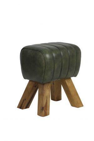 Kruk 38x30x46 cm RAMY leer groen 6738381 Quality2life.nl