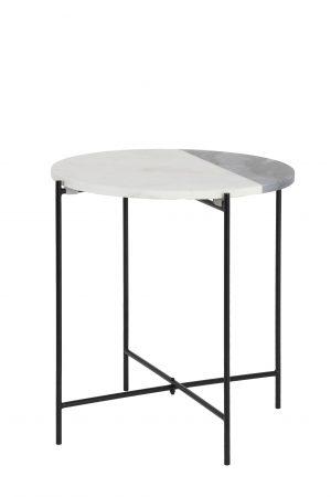Bijzettafel Ø34x37,5 cm QUILLON mat zwart-marmer wit-grijs 6740027 Quality2life.nl