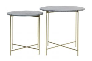 Bijzettafel S/2 Ø40x45+Ø49,5x50,5 cm DELON marmer roze-goud 6746989 Quality2life.nl