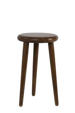 Bijzettafel Ø30x50 cm WOGBA hout donker bruin 6757683 Quality2life.nl