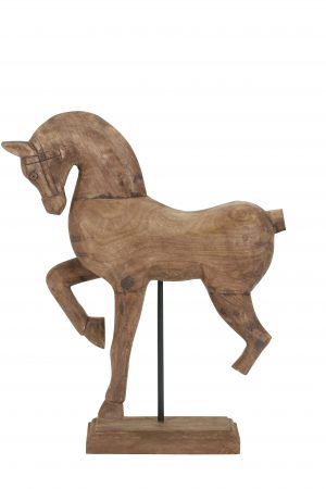 Ornament 37x11x47 cm HORSE hout weather barn 6926683 Quality2life.nl