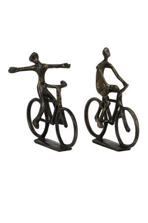 Ornament S/2 24x18x22+24x7x25 cm CYCLISTS antiek brons 6930818 Quality2life.nl
