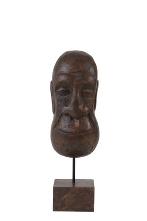 Ornament op voet 15x14x47,5 cm MASK hout bruin 6983564 Quality2life.nl