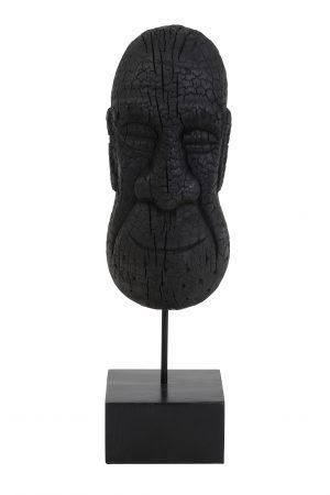 Ornament op voet 16x14x48,5 cm MASK hout zwart 6983612 Quality2life.nl
