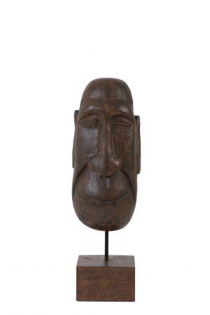 Ornament op voet 16x14x48,5 cm MASK hout bruin 6983664 Quality2life.nl