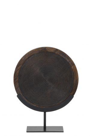 Ornament op voet 35x12x47 cm KAMUDI hout bruin-mat zwart 6993912 Quality2life.nl