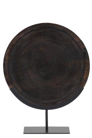 Ornament op voet 45x12x57 cm KAMUDI hout bruin-mat zwart 6994012 Quality2life.nl
