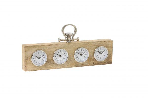 Klok 49x5x13 cm BRIXTON hout nikkel 7103084 Quality2life.nl