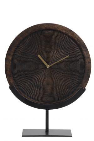 Klok op voet 35x12x47 cm KAMUDI hout bruin-mat zwart 7108384 Quality2life.nl