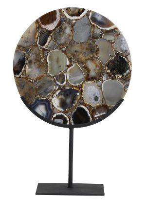 Ornament op voet 35x12x50 cm GOUYA agaat+mat zwart 7417312 Quality2life.nl