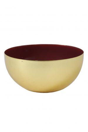 Kandelaar 14x7cm MALILAN goud+donker rood 6035117 Quality2life.nl
