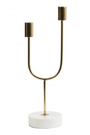 Kandelaar 10x35cm FLORIKE marmer wit-goud 6037026 Quality2life.nl