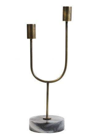 Kandelaar 10x35cm FLORIKE marmer grijs-goud 6037095 Quality2life.nl