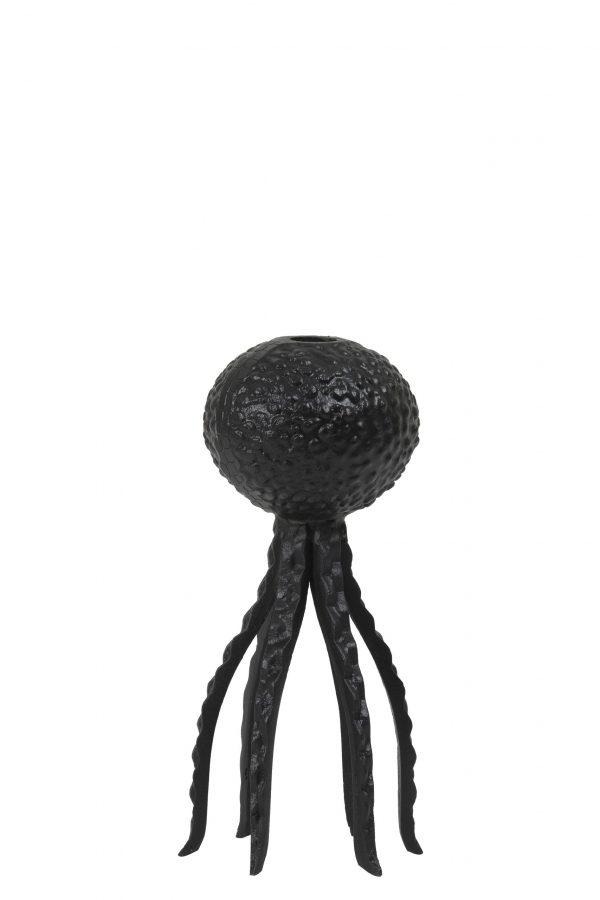 Kandelaar 12x25cm OCTOPUS mat zwart 6037112 Quality2life.nl