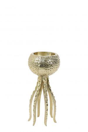 Kandelaar 13x25cm OCTOPUS glanzend goud 6037398 Quality2life.nl
