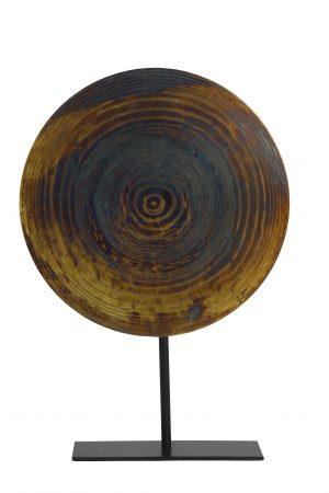 Ornament op voet Ø35x51 cm GARAS vurig brons-mat zwart 6980950 - Quality2life.nl